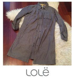 Lole Tops - Lole Gray Snap Button Collar Tunic Shirt