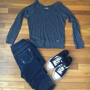 🌺B1G1🌺Dark gray hollister top, long sleeve