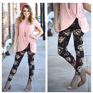 Black Floral Leggings. Perfect for every season!