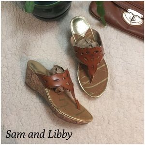 Sam & Libby Shoes - Sam and Libby Laser Cut Wedge Sandals