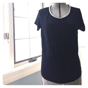 Maje Tops - Maje beaded neckline black casual linen tshirt