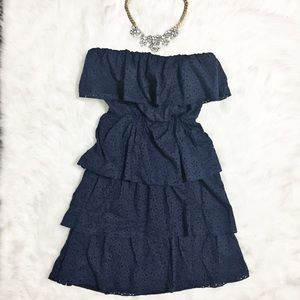 Rue21 Dresses & Skirts - Strapless Tiered Blue Ruffle Dress