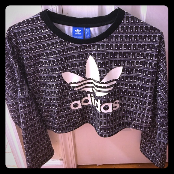 Adidas Tops Rare Super Cute Crop Top Sweater Poshmark