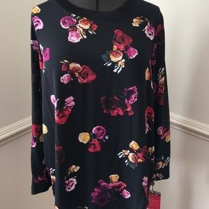 Thakoon Tops - THAKOON LONG SLEEVE FLORAL HIGH LOW TOP