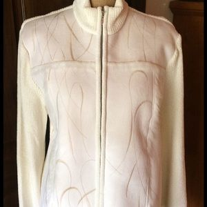 Lisa International Sweaters - White Sweater / Jacket with faux for inside.