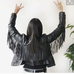 Mossimo Supply Co Jackets & Blazers - Black leather fringe jacket