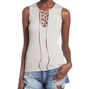 Misguided Lace-Up Rib Knit Tank Grey (Size 4)