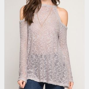 She and Sky Tops - Brand New!! She and sky cold shoulder in gray