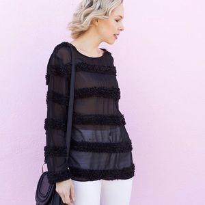 Tops - Embellished Detail Long Sleeve Top - Black