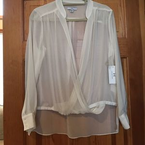H by Halston Tops - NWT Halston sheer open front top🤑