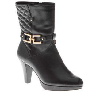 Black Boots Leather Platform Veronica Mid Calf 8.5