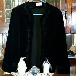 Personal Sweaters - Black velour cardigan.