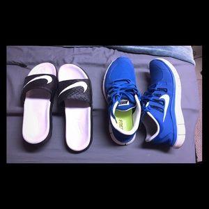 Nike 5.0 free in blue. Size 9. Nike Slips size 10