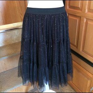 Olsenboye Dresses & Skirts - Olsenboye Black Glitter Tulle Skirt L