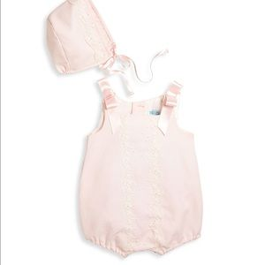 Luli & Me Other - New luli and me baby 2 piece embroider romper cap