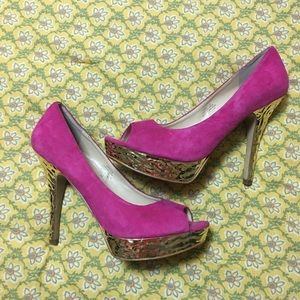 Enzo Angiolini Shoes - Enzo Angiolini Pink Suede Heels