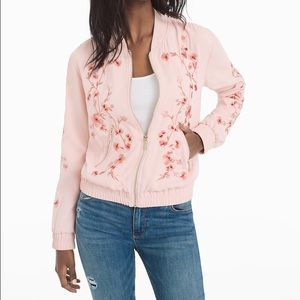 WHBM FLORAL EMBROIDERED BOMBER JACKET