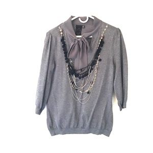 Twelve By Twelve Sweaters - Tie neck Sweater with attached Jewelry