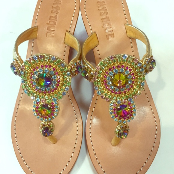 Multi Colored Jeweled Wedge Sandals