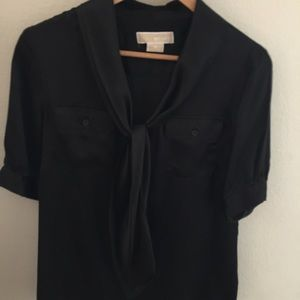Michael Kors Black Silk Blouse with a Bow size 6