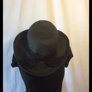 August Hats Accessories - Black Straw Hat with ribbon detail.
