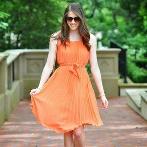Banana Republic Pleated Orange Dress