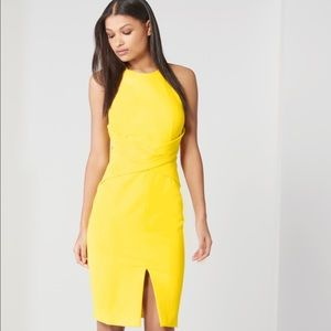 Lavish Alice Dresses & Skirts - Canary Yellow Wrap Front Keyhole Back Midi Dress
