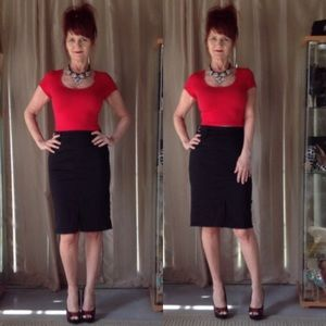 Tripp nyc Dresses & Skirts - TRIPP nyc BLACK PENCIL SKIRT WITH SILVER BUCKLES