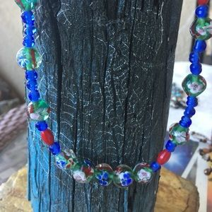 """Vintage 32"""" necklace glass and beads"""