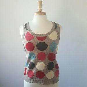 Boden polka dot sleeveless sweater top size 6