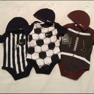 Nike Other - NWT! Baby Nike onesies with matching hats, 0-3.