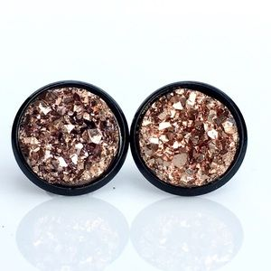 thejeweladdict Jewelry - 3 for 15🎀chunky rose gold faux druzy black studs
