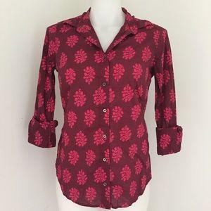 J. Crew Tops - J. Crew Perfect Shirt, Purple & Pink Floral Print