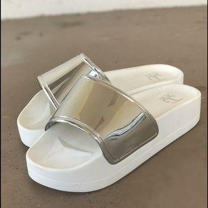 Jeffrey Campbell Silver Metallic Platform Sandals