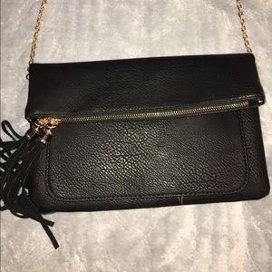 Handbags - Fold Over Black Purse