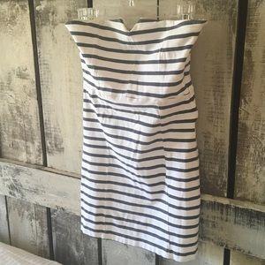 Paul & Joe Dresses & Skirts - Paul & Joe Sister Gray White Stripe Strapless