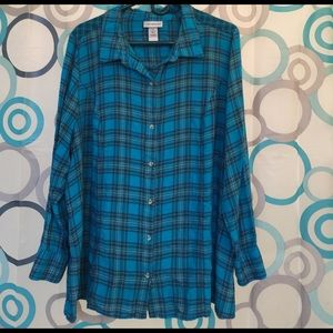 Catherines Tops - Catherines top nice plaid long sleeve button up 2X