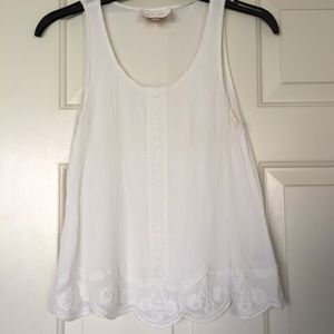 White scalloped tank