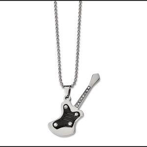 Jewelry - Stainless Steel Black Rockstar Guitar Necklace