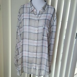Old Navy Tops - Sheer Old Navy Plaid XXL Button Up