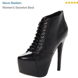 STEVE MADDEN Platform Leather Lace-Up Ankle Bootie