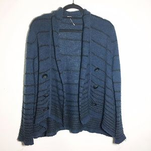 Free People striped open button cardigan S