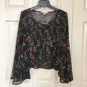 Front Tie Batwing Blouse