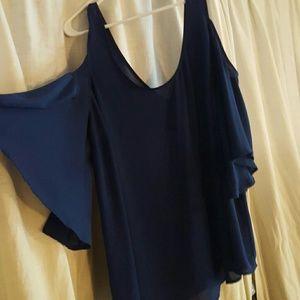 Cold shoulder chiffon blouse