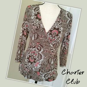 🌇 NWOT Charter Club Top 3/4 Sleeve Brown Gray L