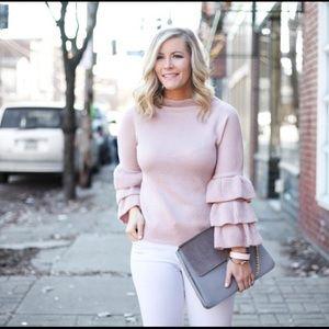 Shein Sweaters - Pink ruffle sleeve sweater