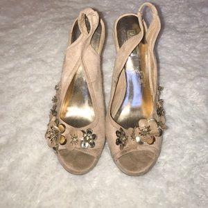 Wild Pair Shoes - Nude and gold floral platform wedges