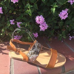 SHOEROOM21 boutique  Shoes - Ladies double band ankle buckle flat sandals. Tan