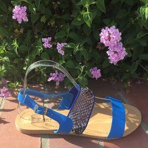 SHOEROOM21 boutique  Shoes - Ladies double band ankle buckle flat sandals. Blue