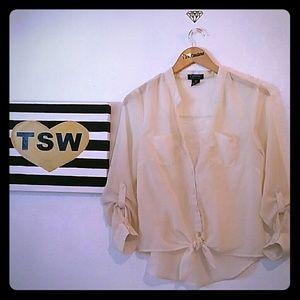 oppa Tops - OPPA! beige  lace blouse medium
